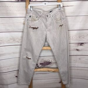 Ag Adriano Goldschmied Piper Crop Distressed Jeans